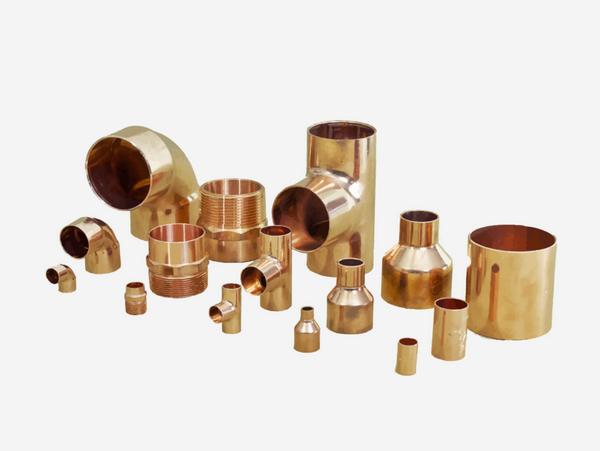 tubería, cobre, accesorios